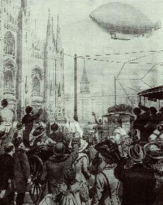 Enrico Forlanini in volo su Milano con il dirigibile 'Leonardo Da Vinci' nel 1909 in una illustrazione della Domenica del Corriere (immagine tratta da 'Aerostati' di M.Majrani, Edizioni dell'Ambrosino)