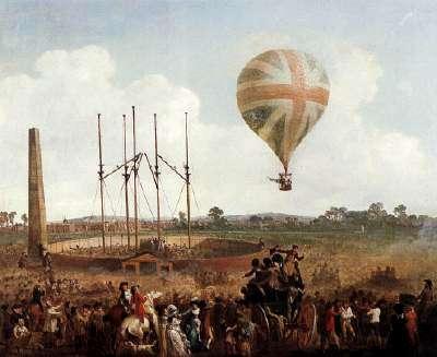 Un dipinto che ritrae il primo volo di Lunardi in Gran Bretagna